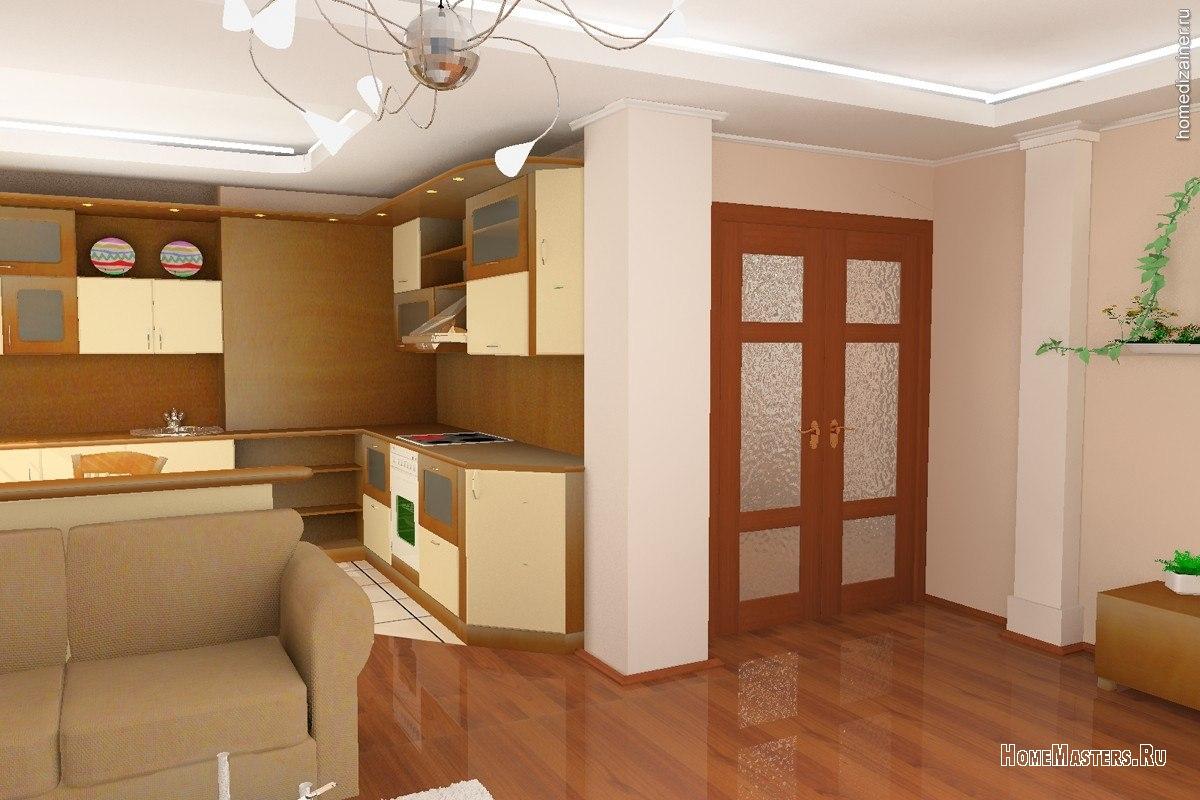 Интерьер совмещенной кухни с прихожей фото в частном доме