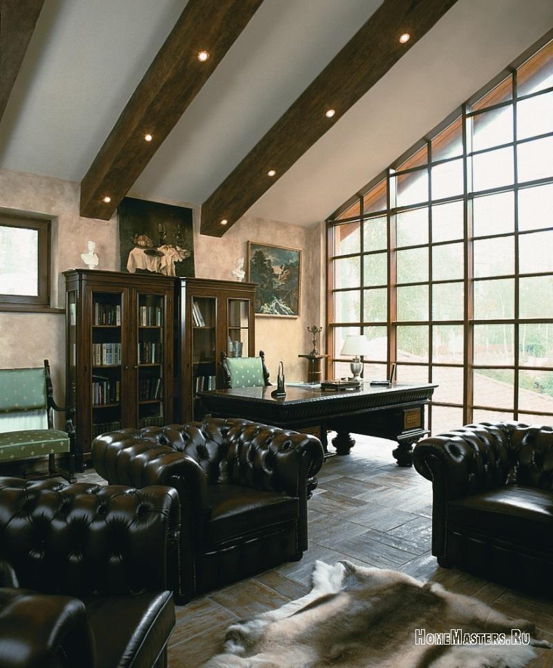 гостиной с балками потолок фото в