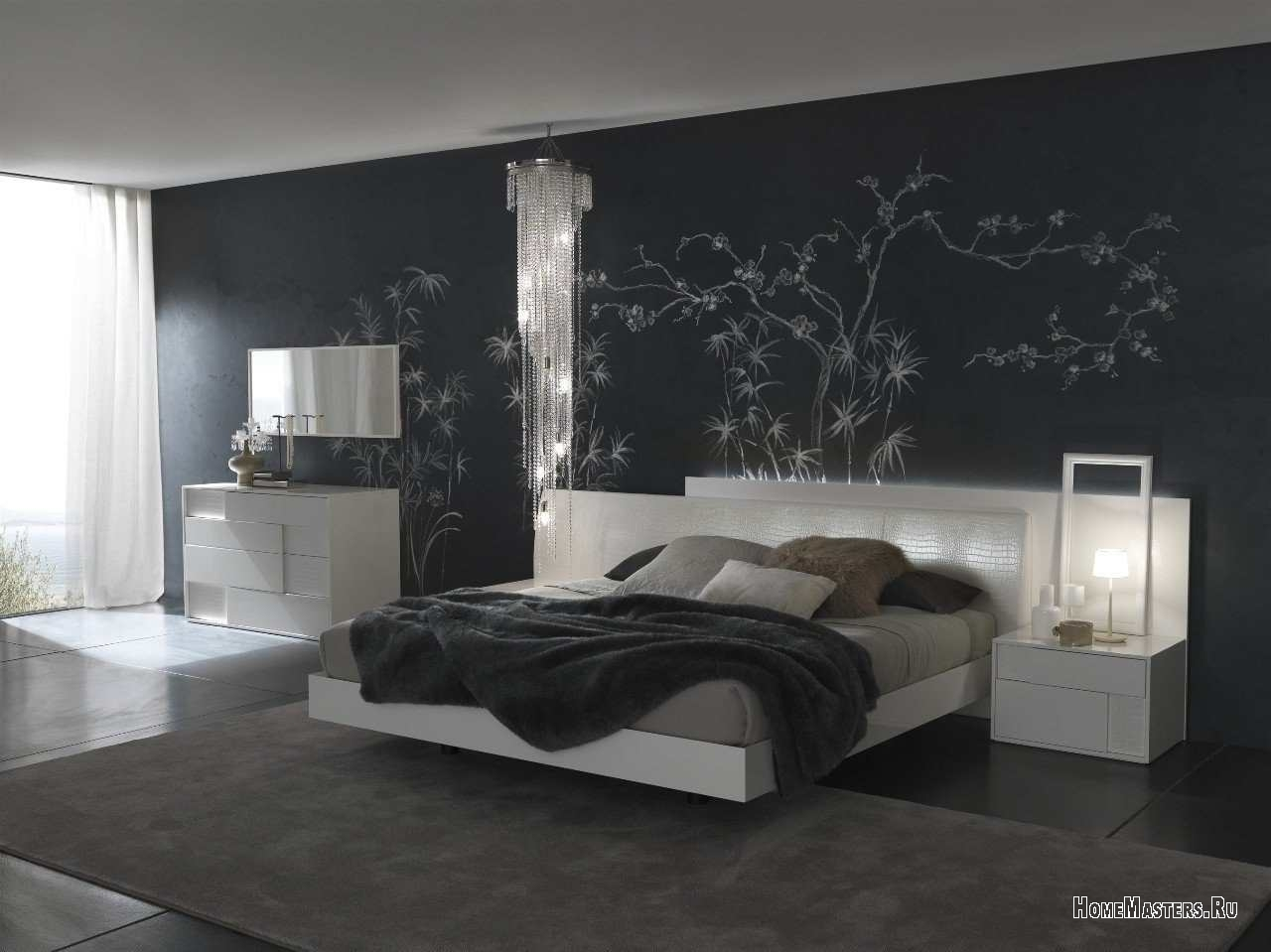 Интерьер черно белой спальни