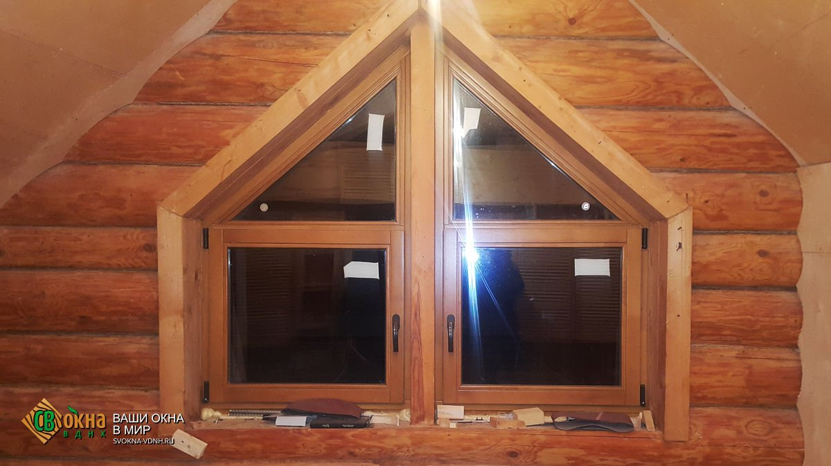 Деревянные окна Эконом в срубе