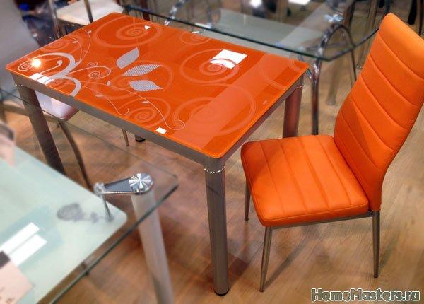 Обеденный стол Суфле оранжевый