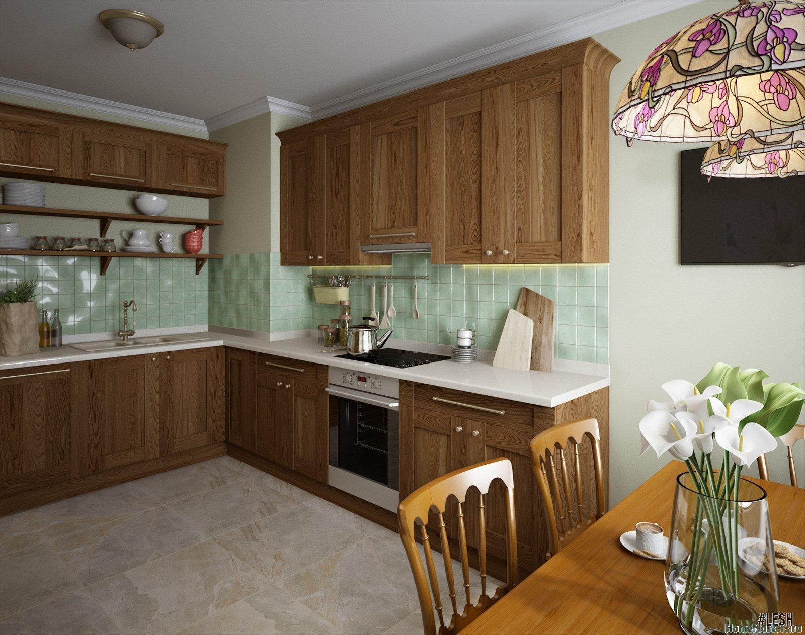Сочетание зелени и дерева на кухне