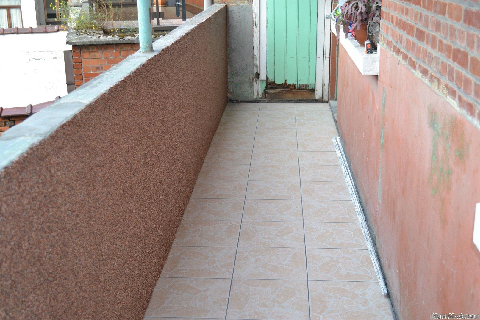 Ремонт балкона. Пол и стены. 034