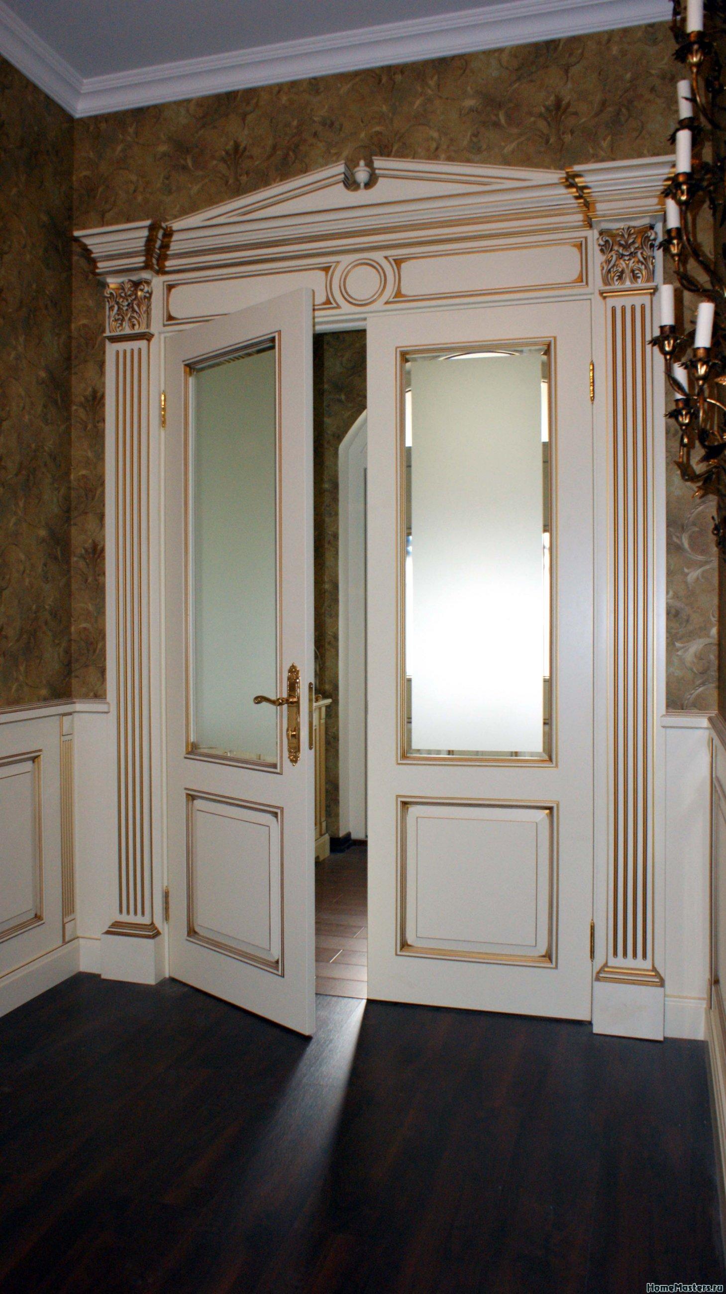 Фото двойной межкомнатной двери Альберт со стклянной вставкой
