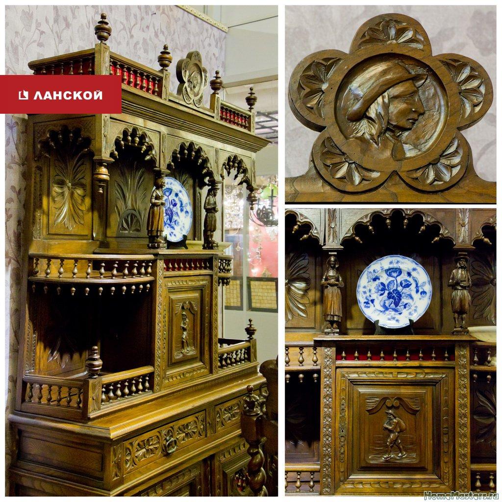 антикварная мебель в торговом комплексе Ланской, буфет, посуда