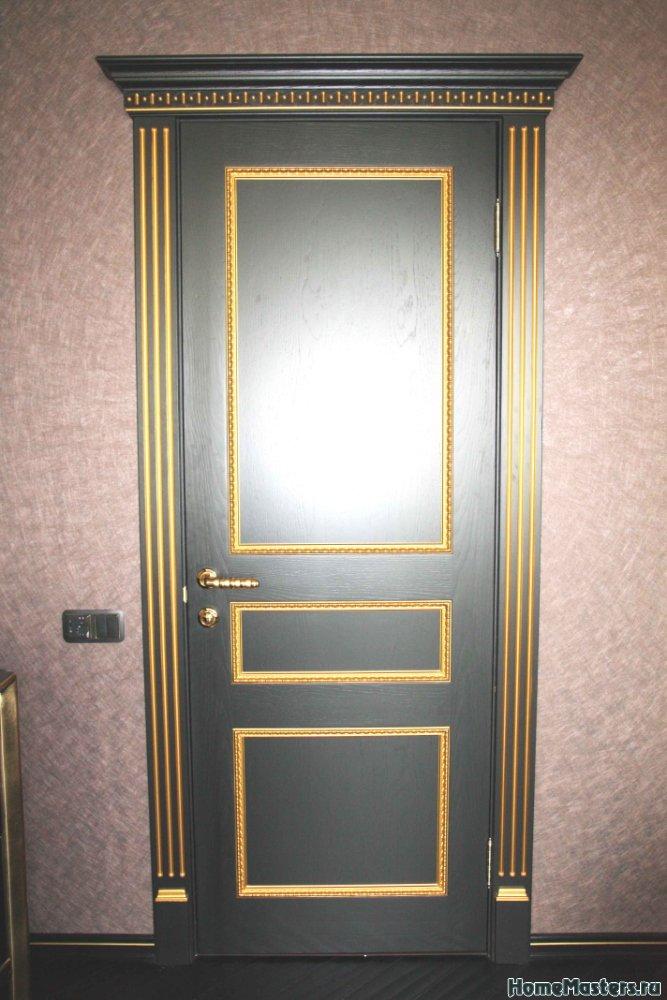Фото межкомнатной двери Империал черного цвета  массив и мдф Royal Interni