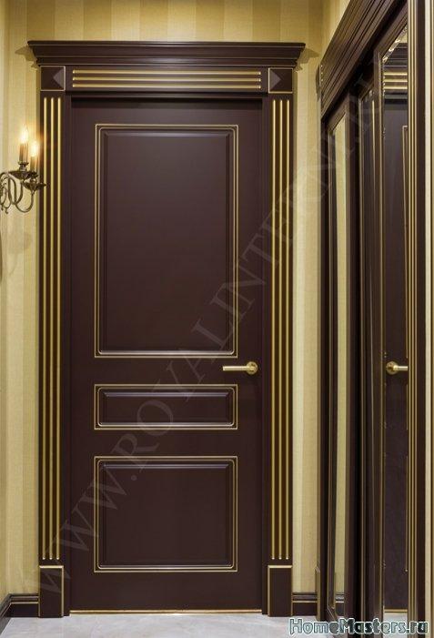 Империал межкомнатная дверь  темный лак с золотом
