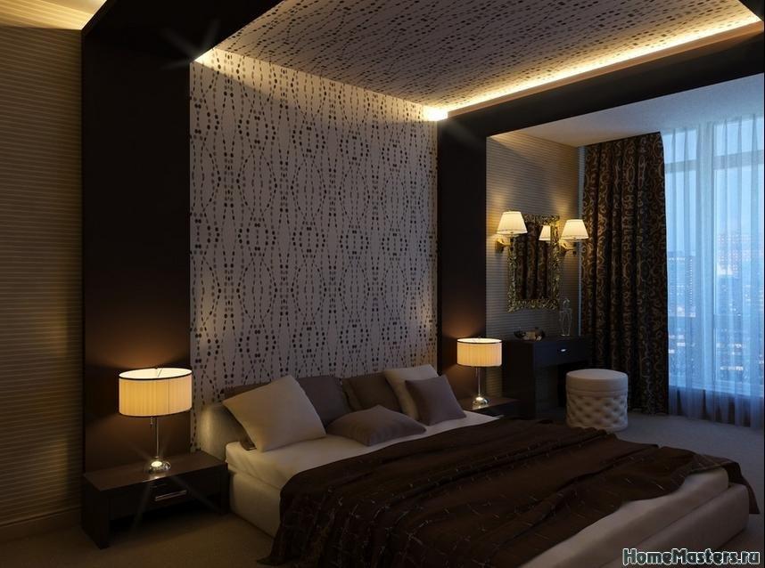 Темная спальня с подсветкой