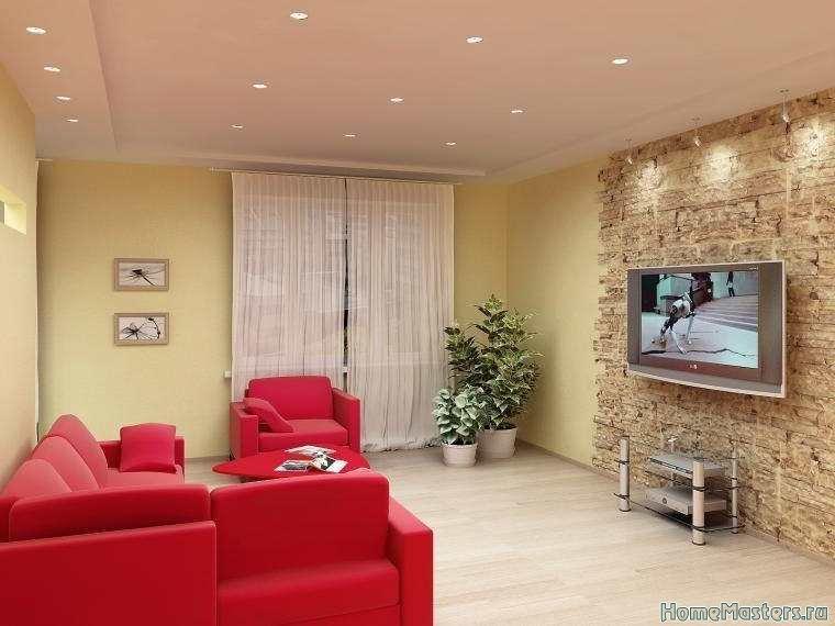 Гостинная с красным диваном