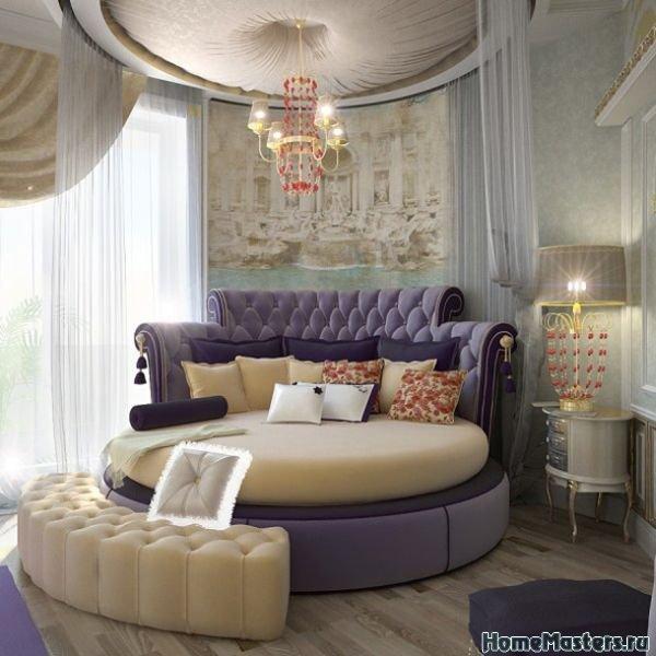 Круглая кровать с фиолетовым оттенком