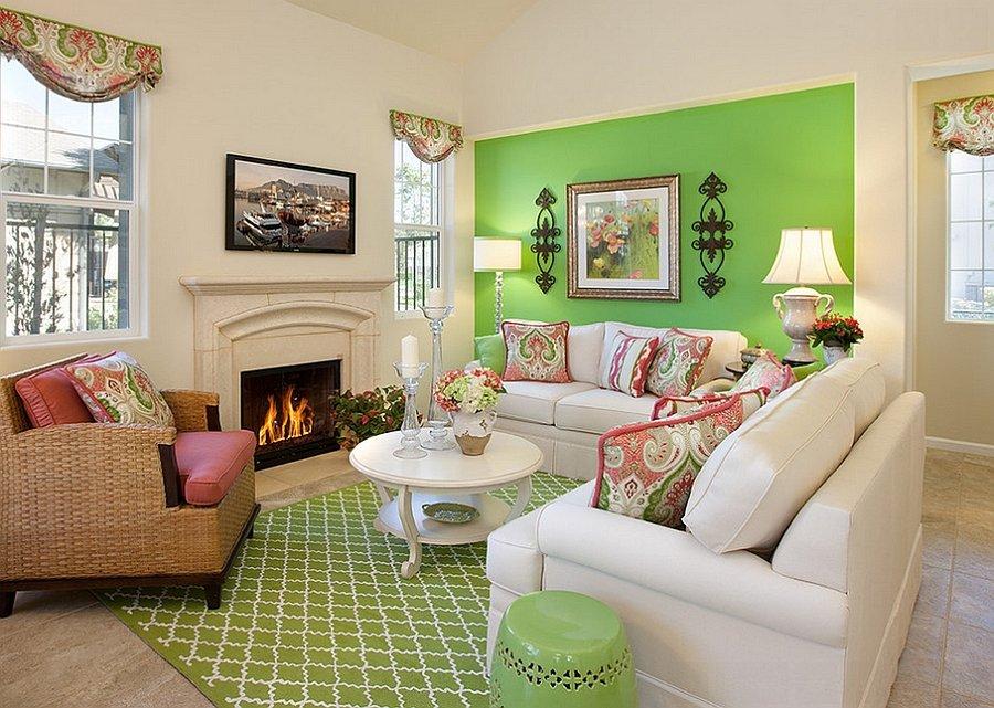 Зеленный цвет в гостиной