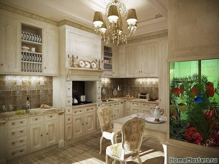 Классическая кухня с аквариумом