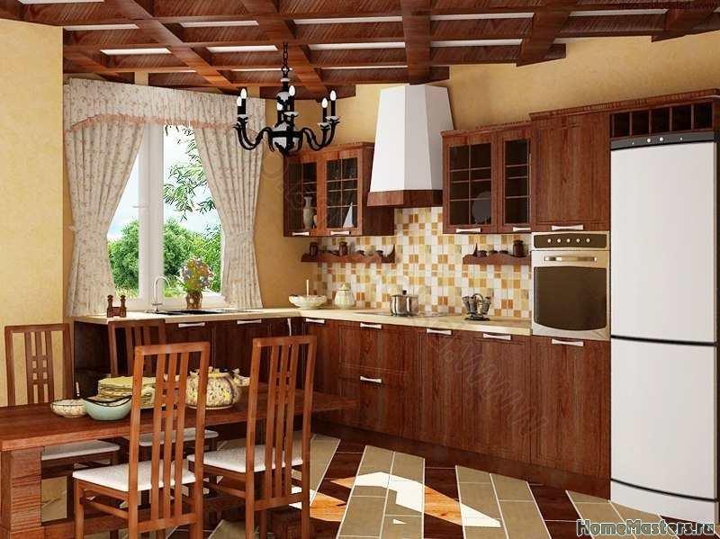 Кухня с балками на потолке