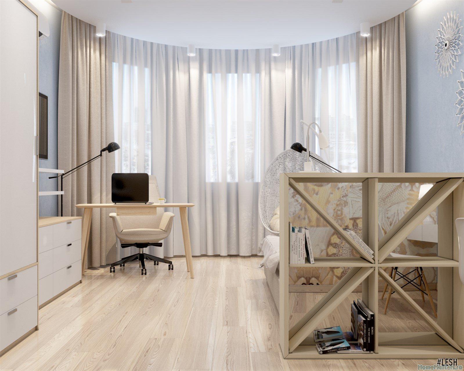 Дизайн спальни с эркером   Butlerova - 69м.