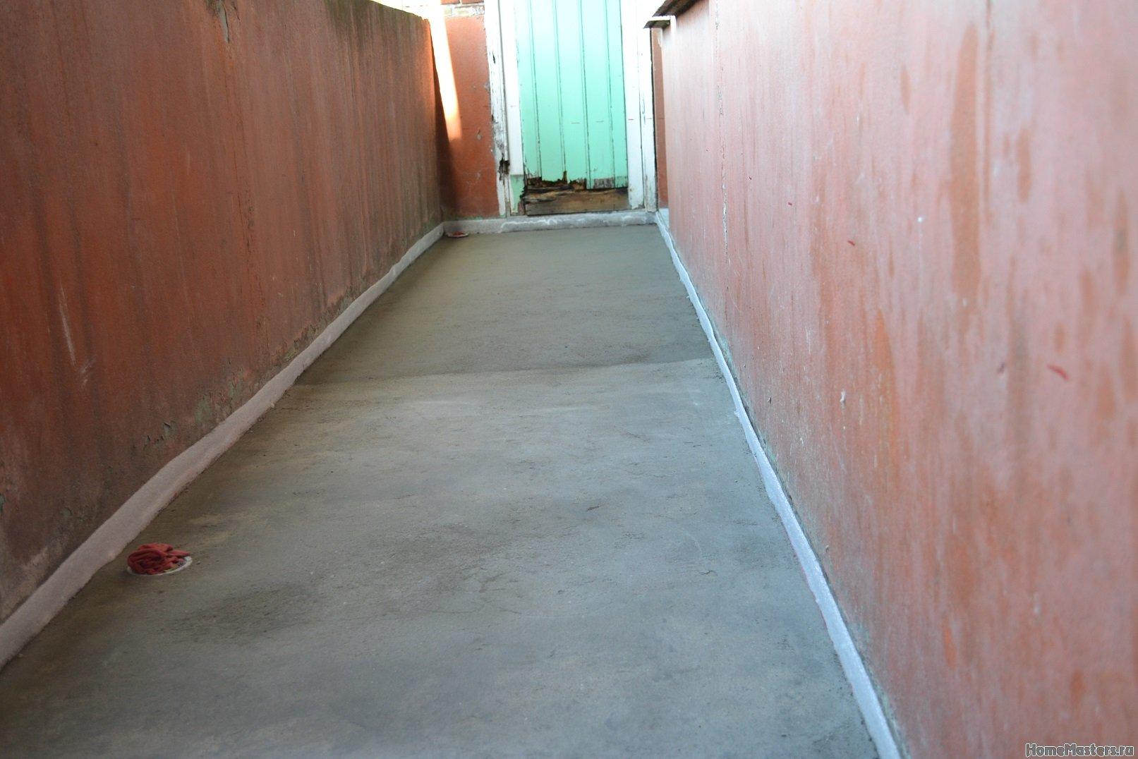 Ремонт балкона. Пол и стены. 019