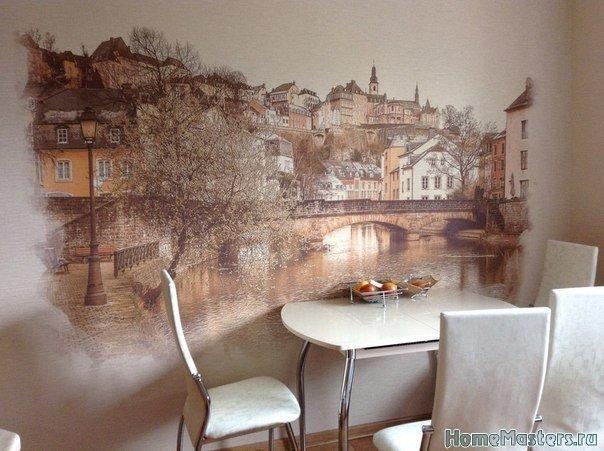 Арт стена на кухне