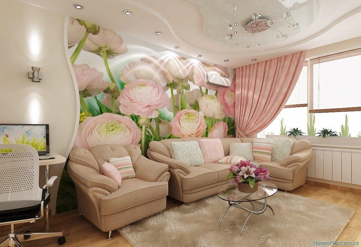 Цветочная стена в гостинной