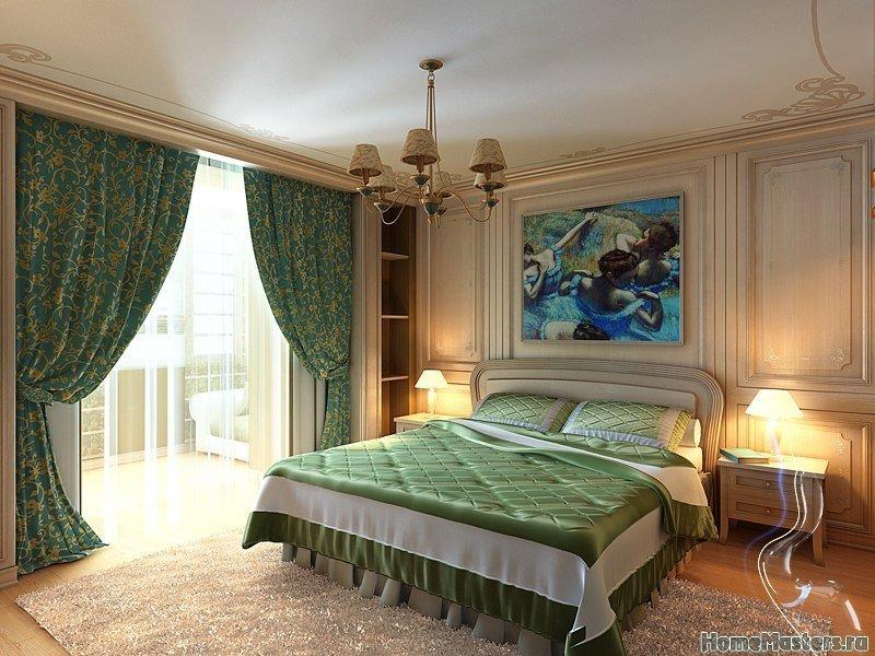Изумруд в интерьере спальни