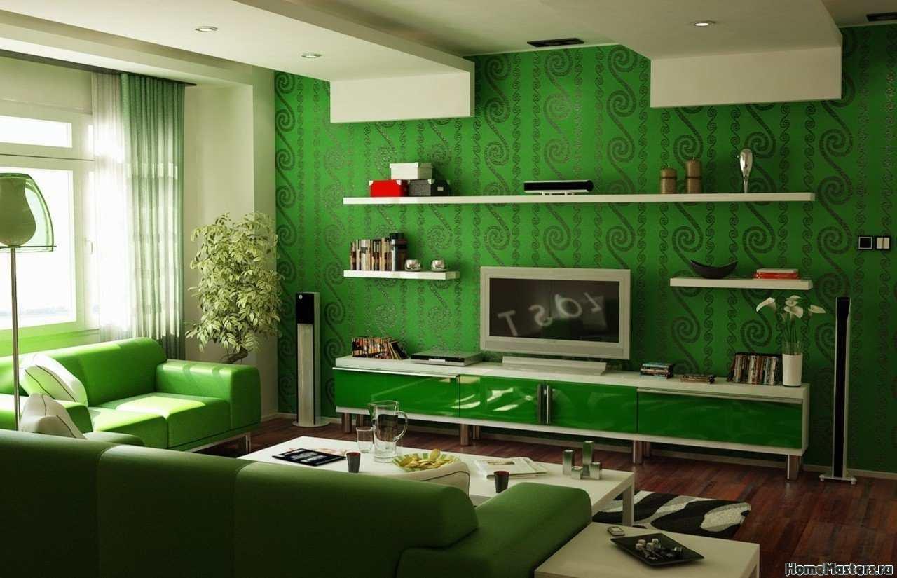 Гостинная в зеленых тонах