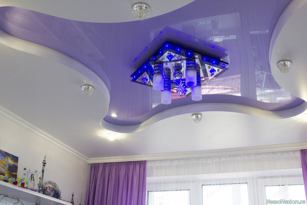 Многоуровневый натяжной потолок в детской