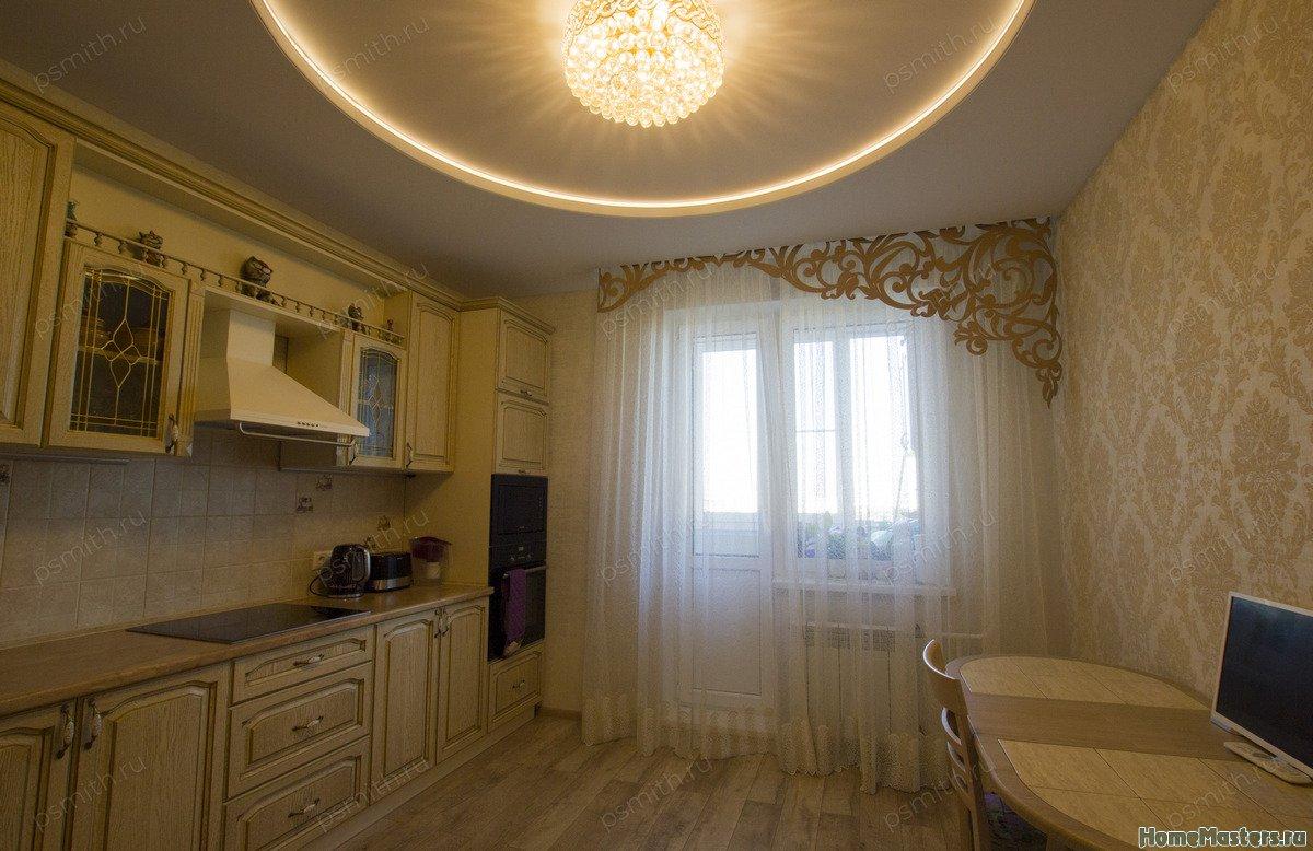 Многоуровневый тканевый натяжной потолок на кухне