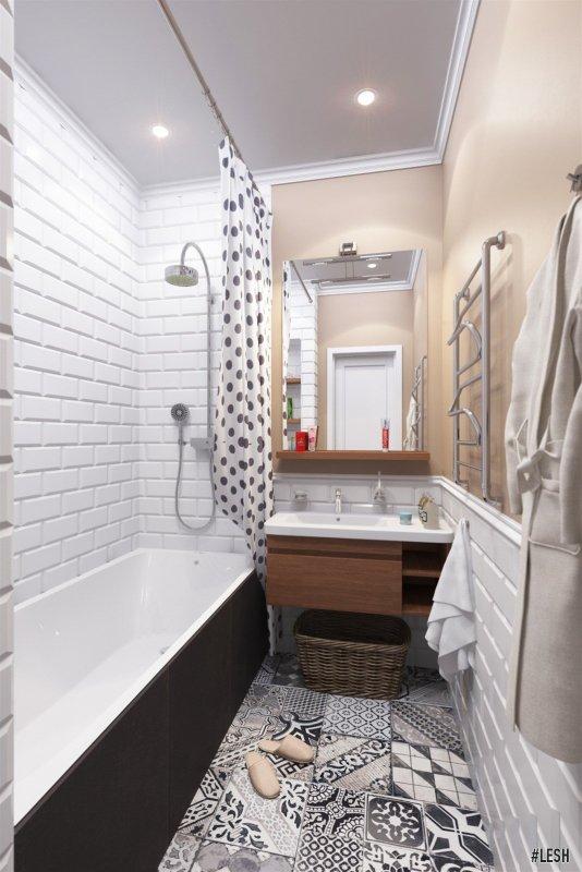 Ванная в стиле patchwork | Novocherkasskiy - 63м.