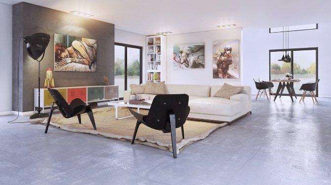 Оформление стены картина гармонирует со помещением