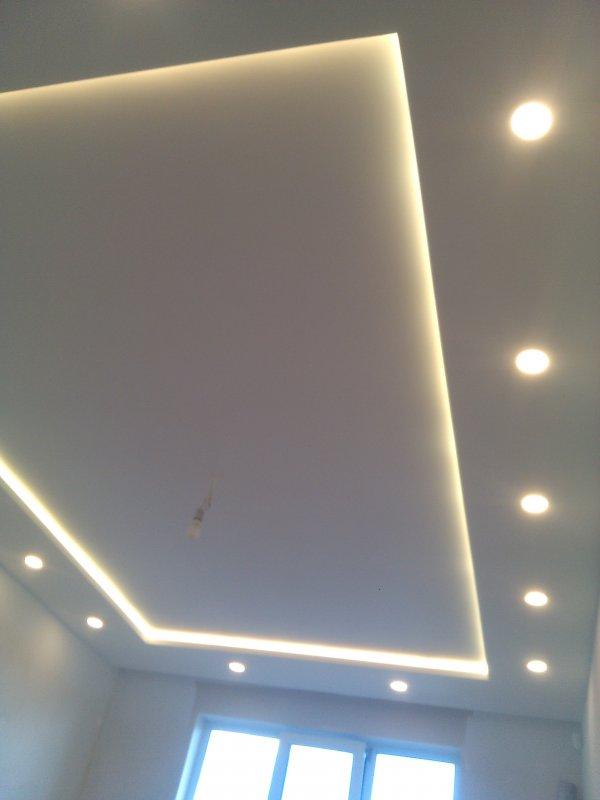 двух уровневый потолок из гипсокартона