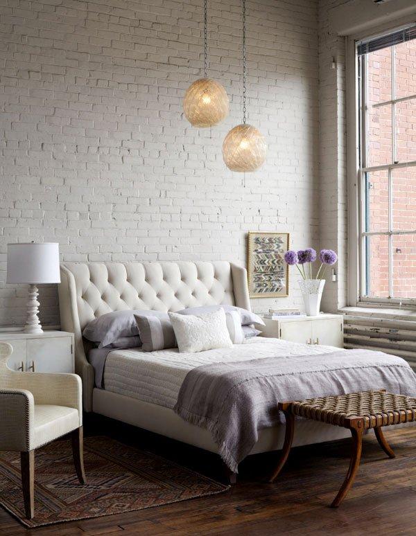 Белый кирпич в спальне