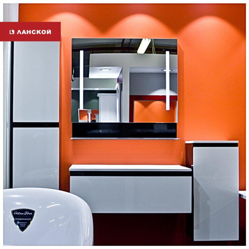 комплект черно-белой мебели для ванной комнаты в тк ланской