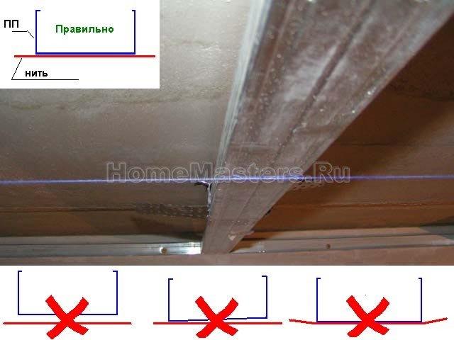 0034 На схеме показано как должен находиться ПП над нитью