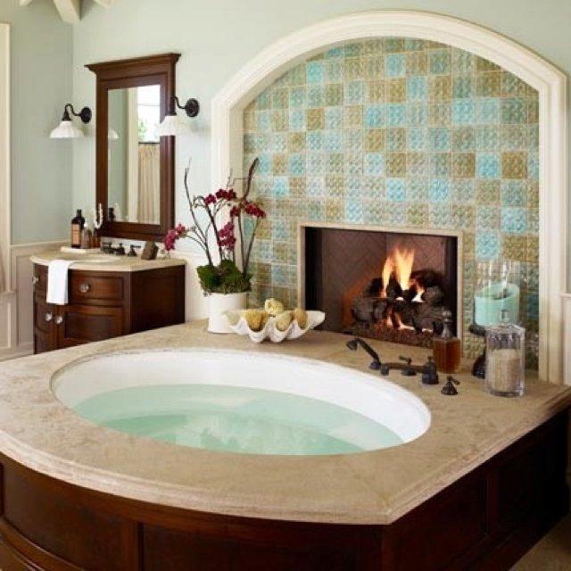 Ванна с камином