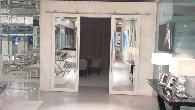 фото двойной подвесной двери с зеркальным полотном от Роял Интерни