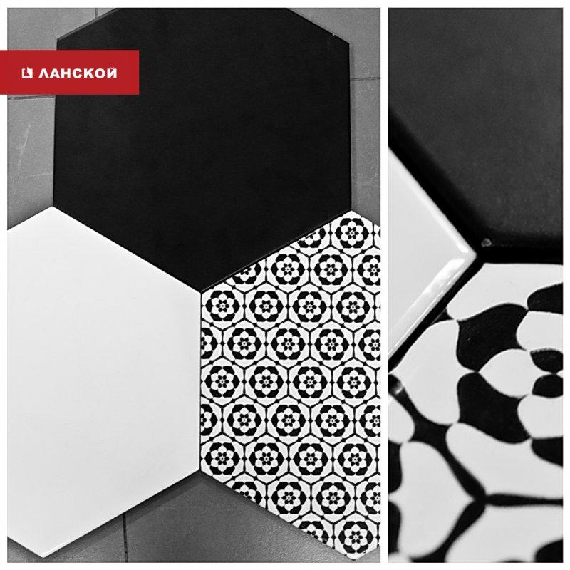 напольная плитка в черно-белом стиле в тк ланской