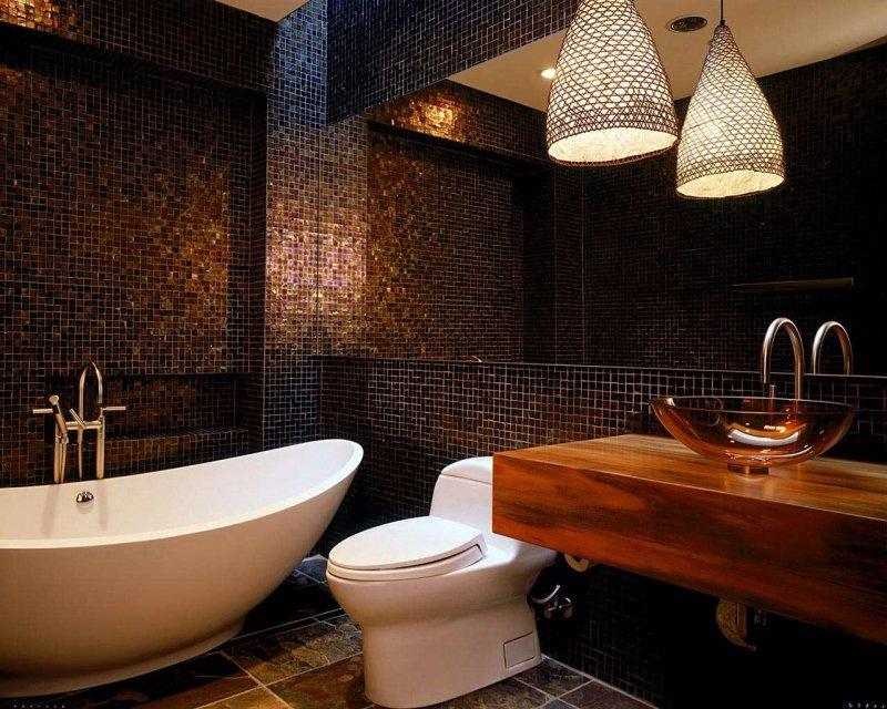 Интерьер ванной в мозаике