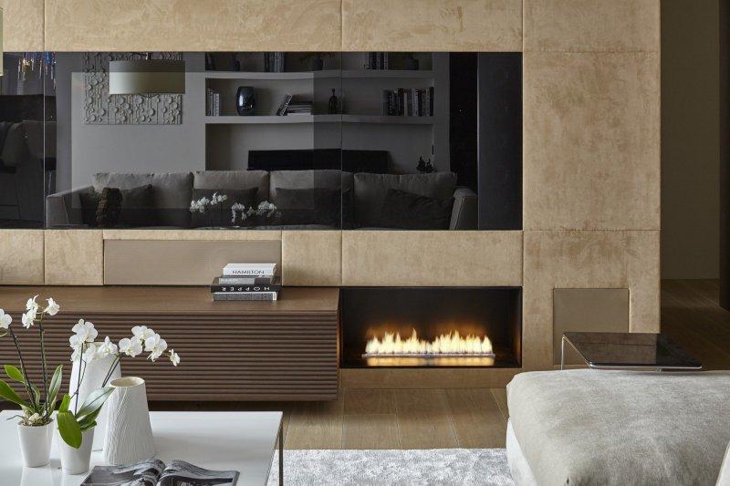 Автоматический биокамин Denver Automatic Fire в стальном коробе Montreal встроенный в мебель