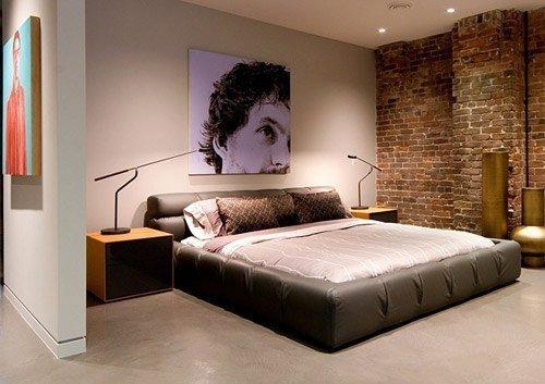 Кирпич  в интерьере спальни