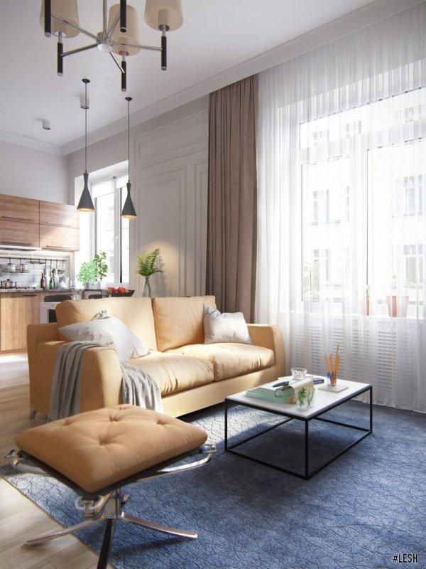 Светлая мебель в гостиной | Novocherkasskiy - 63м.