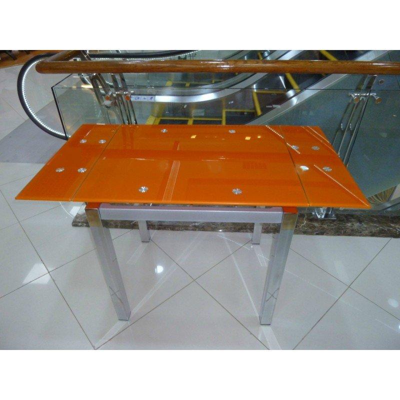 Стеклянный раздвижной стол Анжелика оранжевый