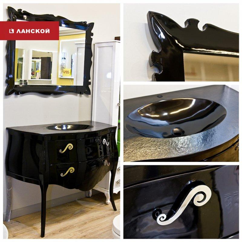 черный комплект мебели для ванной комнаты в тк ланской