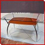 Стеклянный стол Осень с элементами дерева