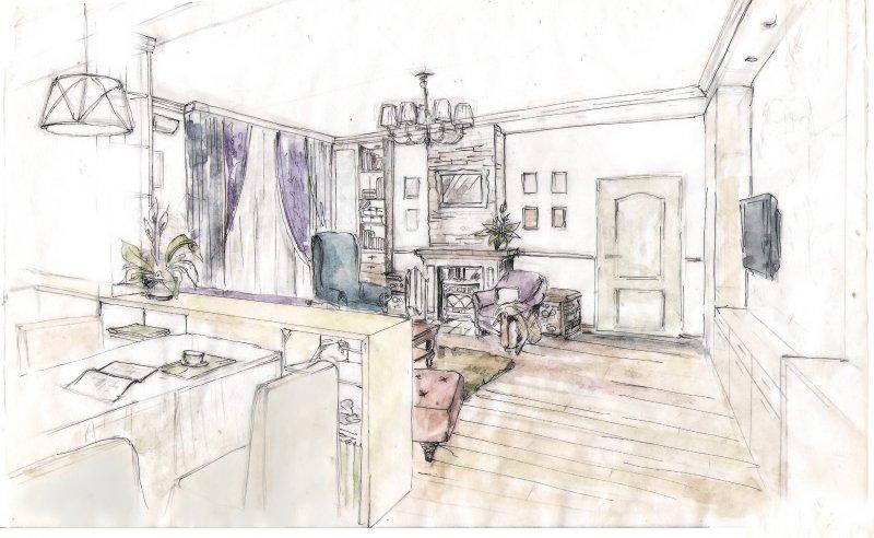 столовая гостиная в коттедже
