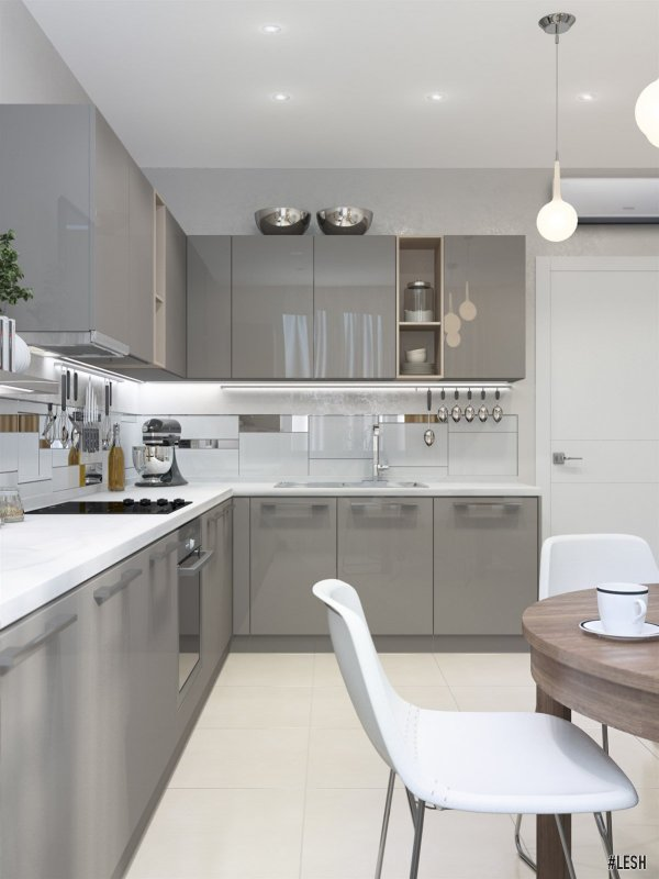 Серо-глянцевый кухонный гарнитур | Butlerova - 69м.