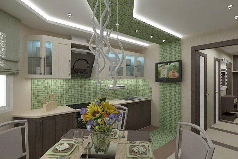 Зеленая мозаика на кухне