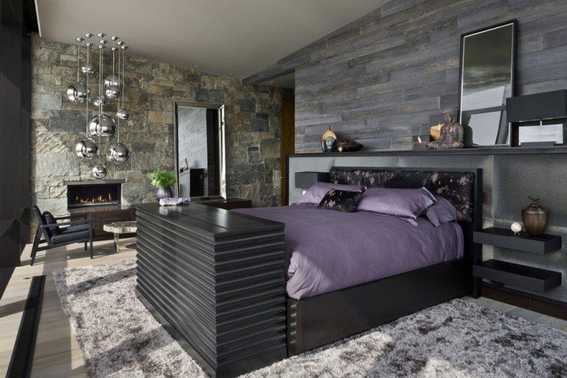 Декоративный камень в спальне
