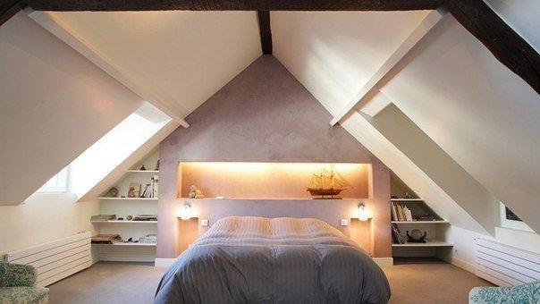 Спальня под крышей с мансардными окнами