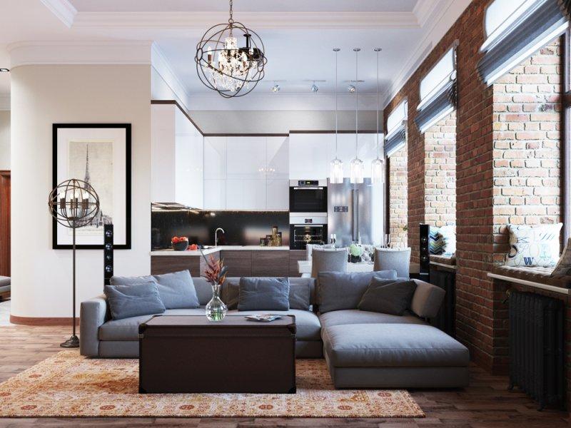 Дизайн проект четырехкомнатный квартиры в стиле лофт