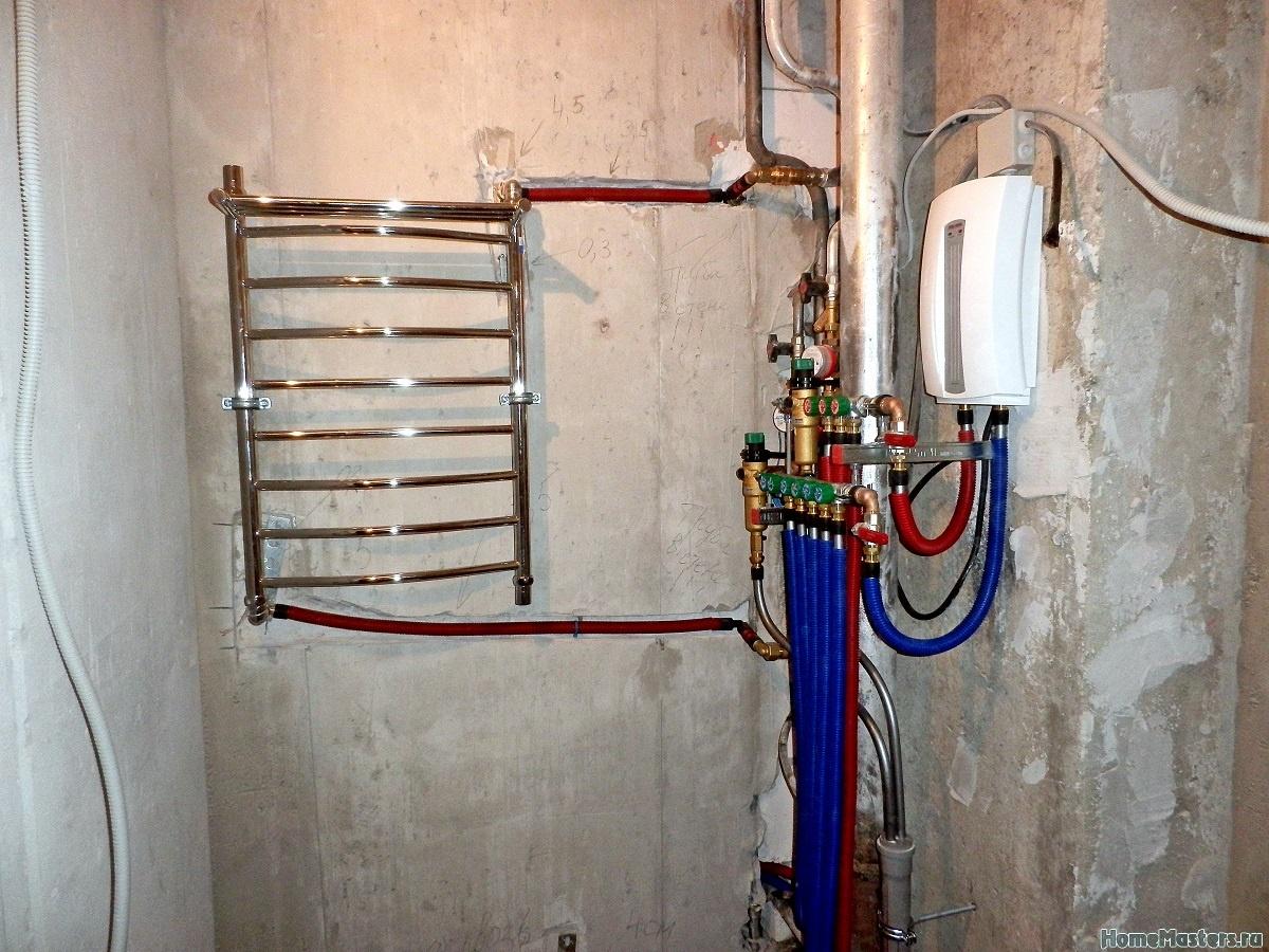 Схема подводки воды в полотенцесушителе