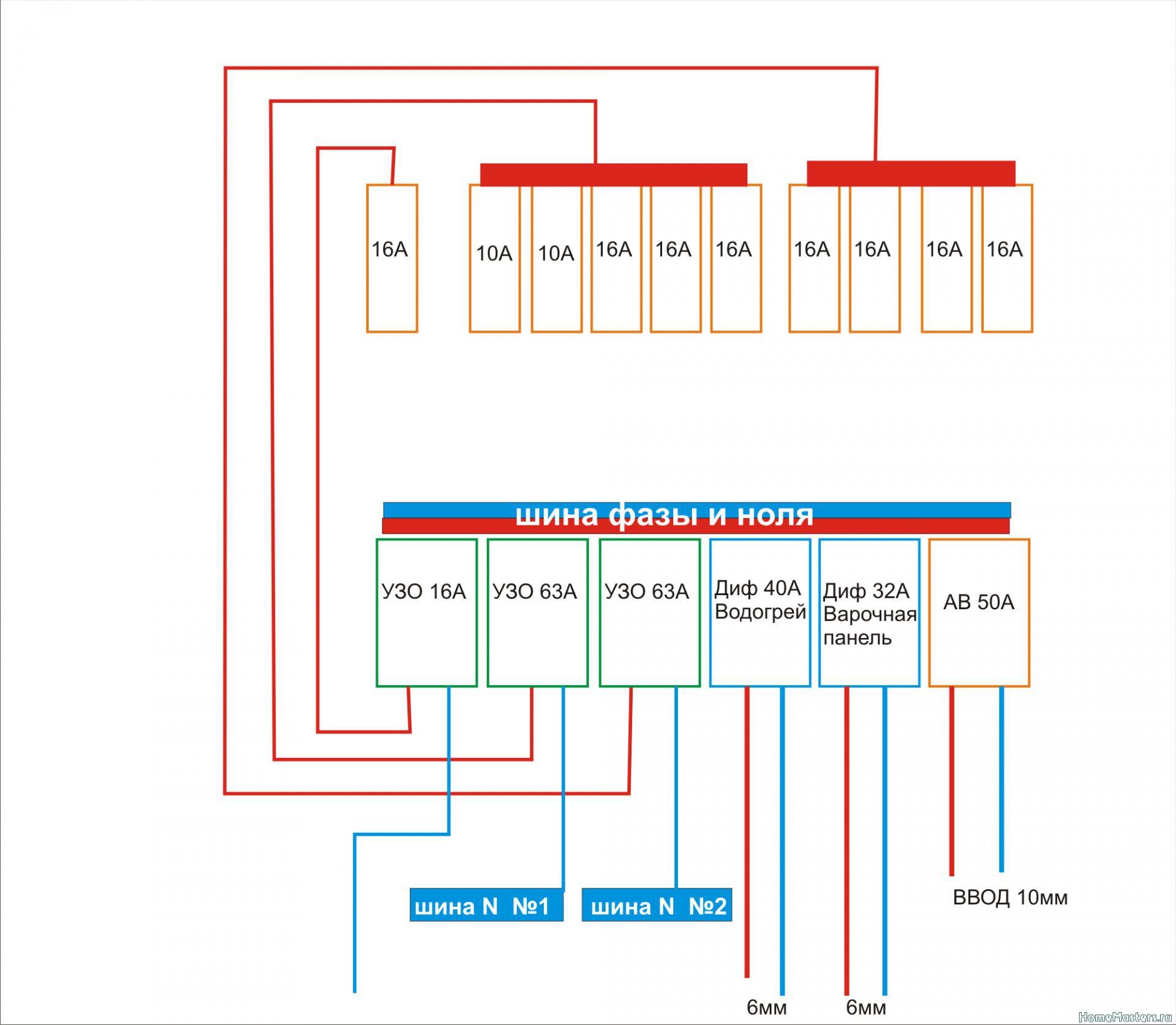 Схема подключения дифавтомата abb