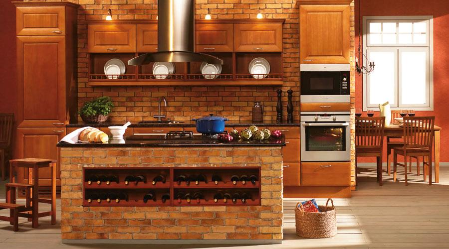 Кухня дизайн кирпичного